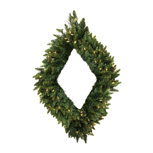 "48"" Pre-Lit Camdon Fir Diamond Shaped Artificial Christmas Wreath - Clear Lights - green"