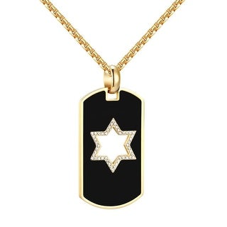 """Star Of David Dog Tag Pendant Jewish 14k Gold Over Stainless Steel 24"""" Chain Men"""