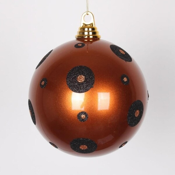 "Copper with Black Glitter Polka Dots Christmas Ball Ornament 6"" (150mm)"