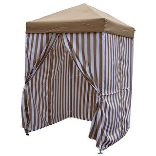 East End Patio Pop-up Striped Cabana Tent, Beige-Brown, 5x5 Feet