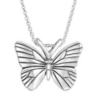 Kabana Small Butterfly Pendant in Sterling Silver - White