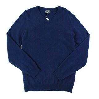 Club Room NEW Blue Mens Size XL Ribbed Trim V-Neck Cashmere Sweater