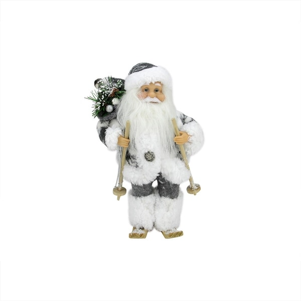 "9"" Country Patchwork Skiing Santa Claus Christmas Figure"