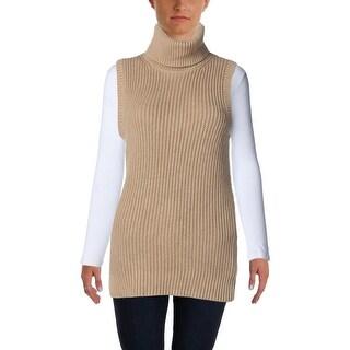MICHAEL Michael Kors Womens Ribbed Knit Sleeveless Turtleneck Sweater