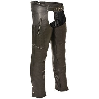 Mens Slash Pocket Black Leather Motorcycle Chaps (More options available)