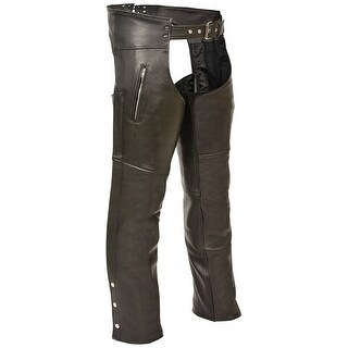 Mens Slash Pocket Black Leather Motorcycle Chaps