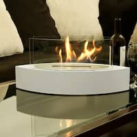Sunnydaze Barco Ventless Tabletop Bio Ethanol Fireplace White with Fuel