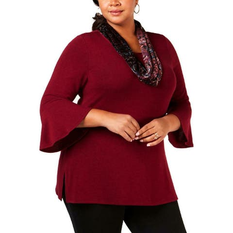 NY Collection Women's Blouse Red 1X Plus Scarf Split Hem Scoop Neck