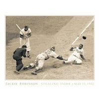 ''Jackie Robinson Stealing Home, May 18, 1952'' by Bettmann Archive Celebrities Art Print (22 x 28 in.)