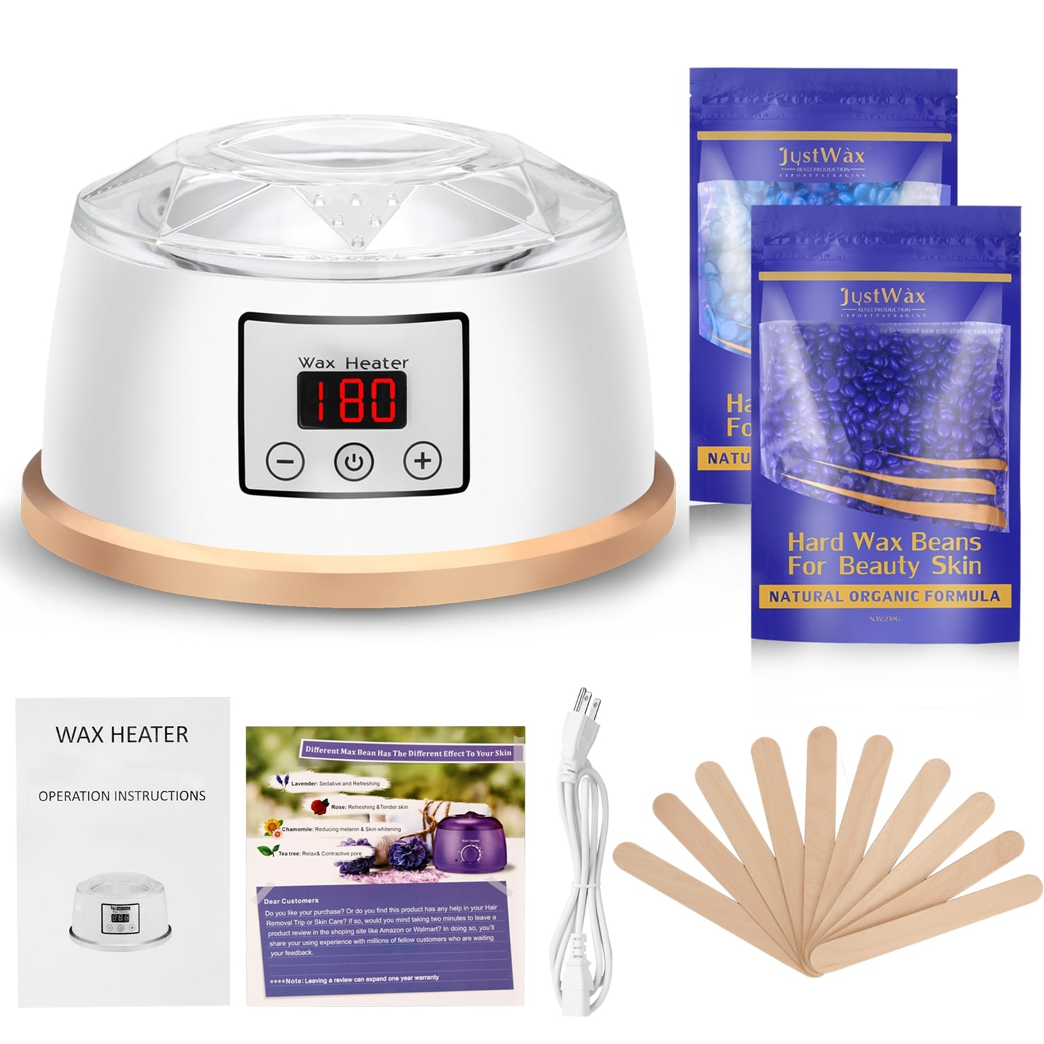 Shop Fitnate Wax Warmer Hair Removal Waxing Kit Electric Wax Heater Pot W Lcd Screen 2 Wax Beans 10 Wax Sticks Overstock 30565695