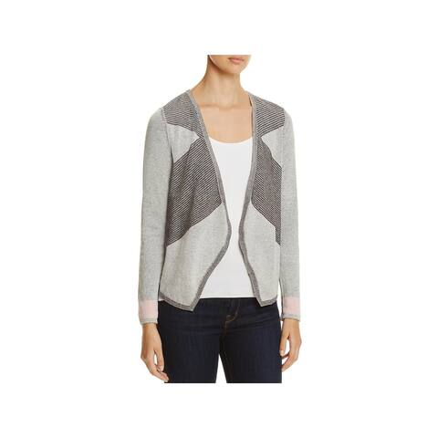 Nic + Zoe Womens Cardigan Sweater Colorblocked Long Sleeves
