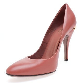 Gucci Women's Classic Elizabeth Desert Rose Leather Pumps Horsebit Heel - 6 us (36 eur)