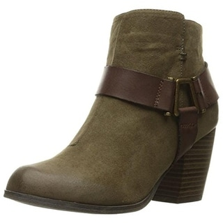Qupid Womens Maze Faux Suede Harness Ankle Boots