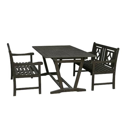 Renaissance Outdoor 3-piece Wood Patio Extendable Table Dining Set