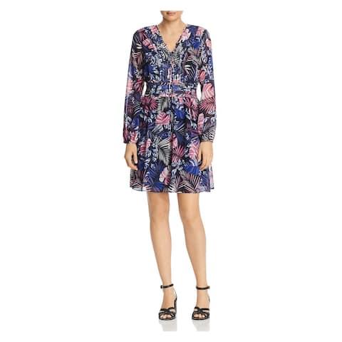 SAM EDELMAN Blue Long Sleeve Short Dress 10