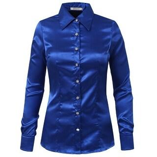 NE PEOPLE Womens Long Cuff Sleeve Button Down Satin Shirt [NEWT74]