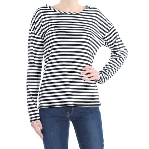 FRENCH CONNECTION Womens Black Striped Long Sleeve Jewel Neck Top Size: XS
