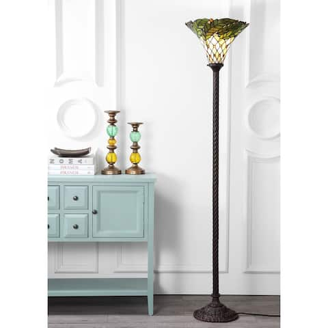 """Botanical Tiffany-Style 71"""" Torchiere LED Floor Lamp, Bronze by JONATHAN Y - 71"""" H x 15"""" W x 15"""" D"""
