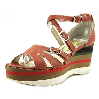 ?Quaesito Kira Siena Women Open Toe Leather Multi Color Wedge Heel
