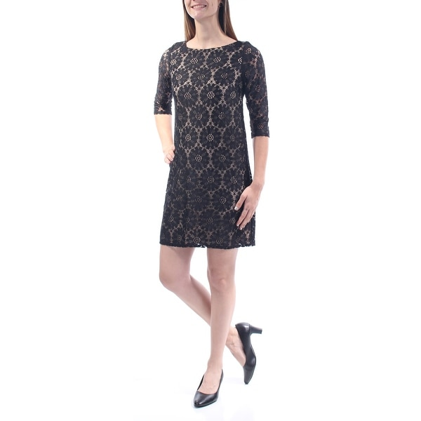 185c13682e0c Shop JESSICA HOWARD Womens Black Lace Sheer Floral 3/4 Sleeve Jewel Neck  Mini Shift Dress Petites Size: 6 - Free Shipping On Orders Over $45 -  Overstock - ...