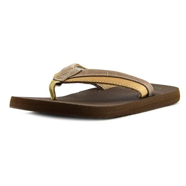 Sanuk Beer Cozy Primo Light Men Open Toe Canvas Brown Flip Flop Sandal