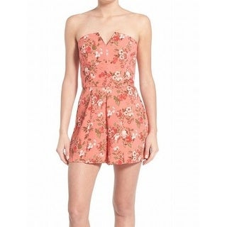 Leith NEW Pink Floral Printed Women's Size Small S Strapless Romper