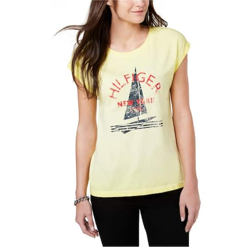 Tommy Hilfiger Womens Sailboat Graphic T-Shirt, Yellow, X-Large