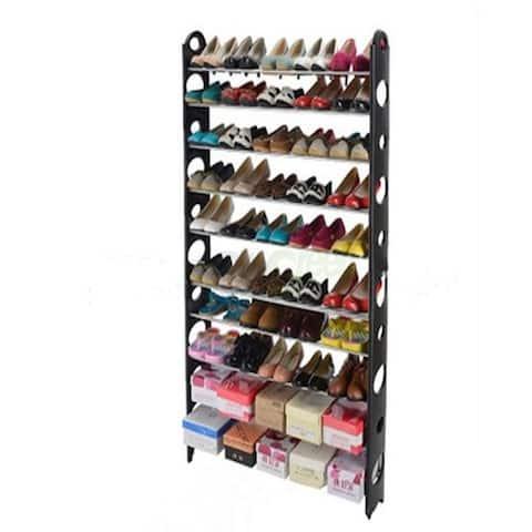 10-Tier 50-Pair-of-shoes Adjustable Steel & Plastic Shoe Rack Black & Silver