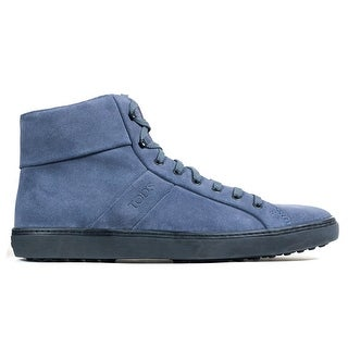 Tod's Mens Blue Allacciato Suede High Top Sneakers