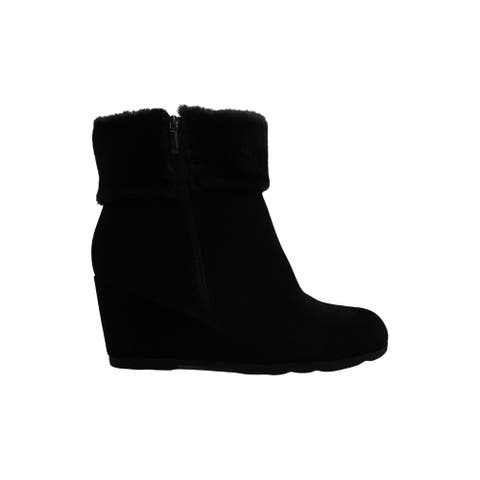 Alfani Women's Shoes Oreena2 Suede Almond Toe Ankle Cold Weather Boots
