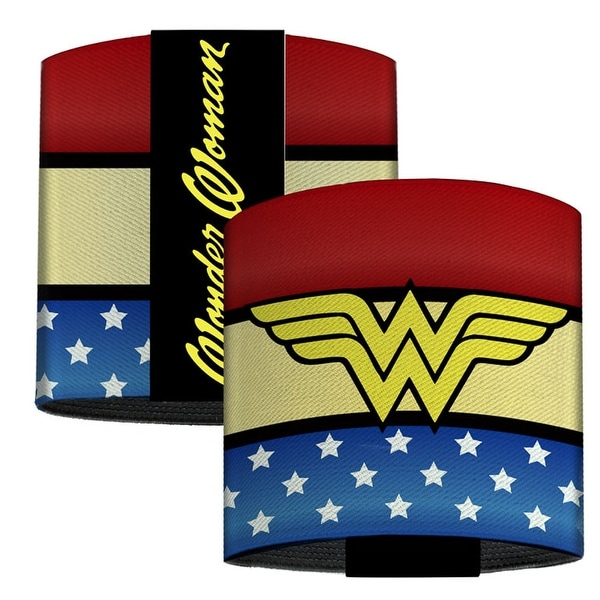 Wonder Woman Logo Stripe Stars Red Gold Blue White Elastic Wrist Cuff