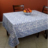 Block Print Rectangular Tablecloth, Rajasthan Floral Vine Cotton Table Linen