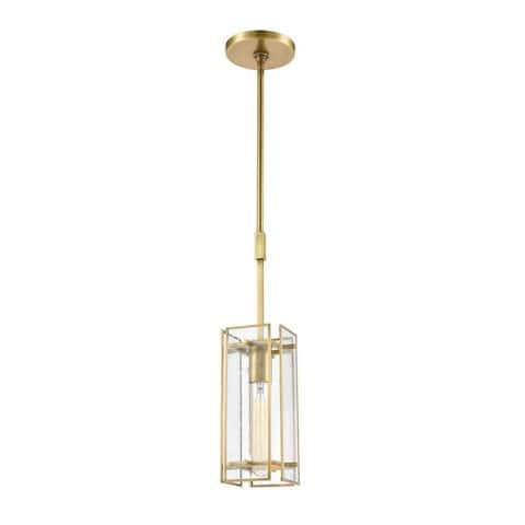 Leigh Grove - One Light Mini Pendant Satin Brass Finish with Seedy Glass