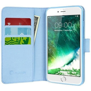 i-Blason-iPhone 7 Plus Case, Wallet Case Credit Card ID-Dal/Blue