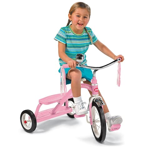 Radio Flyer 33P Girls Classic Pink Dual Deck Kid Toy Tricycle, For Ages 2.5 - 5