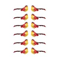 Pack of 12 Red and Dark Burgundy Smoke Spotted Bird Christmas Ornaments 5""