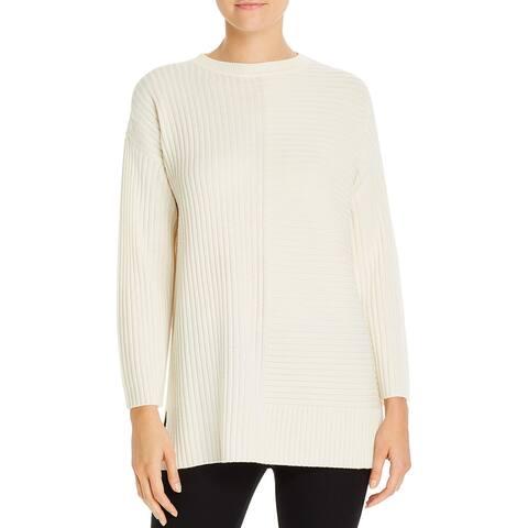 Eileen Fisher Womens Tunic Sweater Extra-Fine-Merino-Wool Crewneck - Soft White