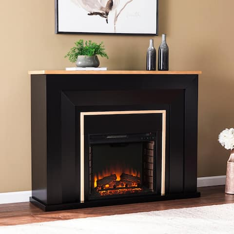 Strick & Bolton Cantara Industrial Black Wood Electric Fireplace