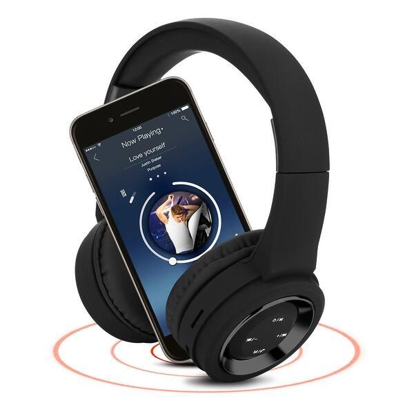 Shop Agptek Bluetooth Headset Wireless Hi Fi Stereo Foldable Headphones Earphones Universal Black Overstock 26889564