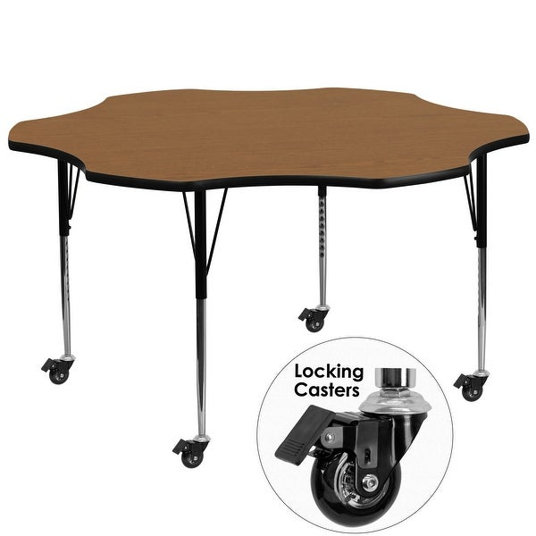 """Delacora FF-XU-A60-FLR-T-A-CAS-GG 60"""" Wide Steel Framed Wood Top Adjustable Activity Table with Locking Casters"""
