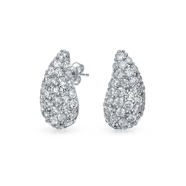 384d7a1a2 Shop Minimalist Cubic Zirconia Pave CZ Teardrop Stud Earrings For Women 925  Sterling Silver - On Sale - Free Shipping On Orders Over $45 - Overstock -  ...