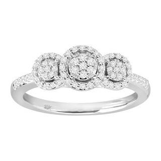1/4 ct Diamond Round Halo Trio Ring Engagement Ring in Rhodium-Plated 10K White Gold