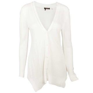 Dex Deep V-Neck Buttoned Cardigan in Ivory