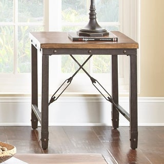 """Link to Carbon Loft Gatling Natural Industrial End Table - 23""""W x 23""""D x 24""""H Similar Items in Living Room Furniture"""