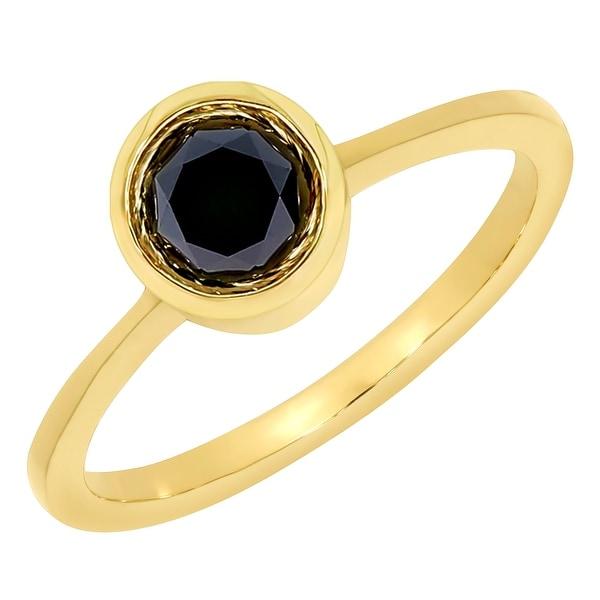 Fabulous 0.50Ct Bezel Set Round Brilliant Cut Solitaire Enagagement Ring - Black