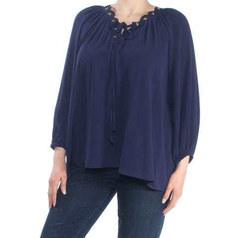 MICHAEL KORS Womens Navy Lace Up Grommeted Long Sleeve Top Size: XL