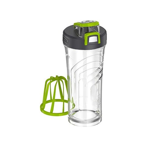 Thermos 24 Oz. Shaker Bottle with Integrated Stationary Mixer (Clear/Green)