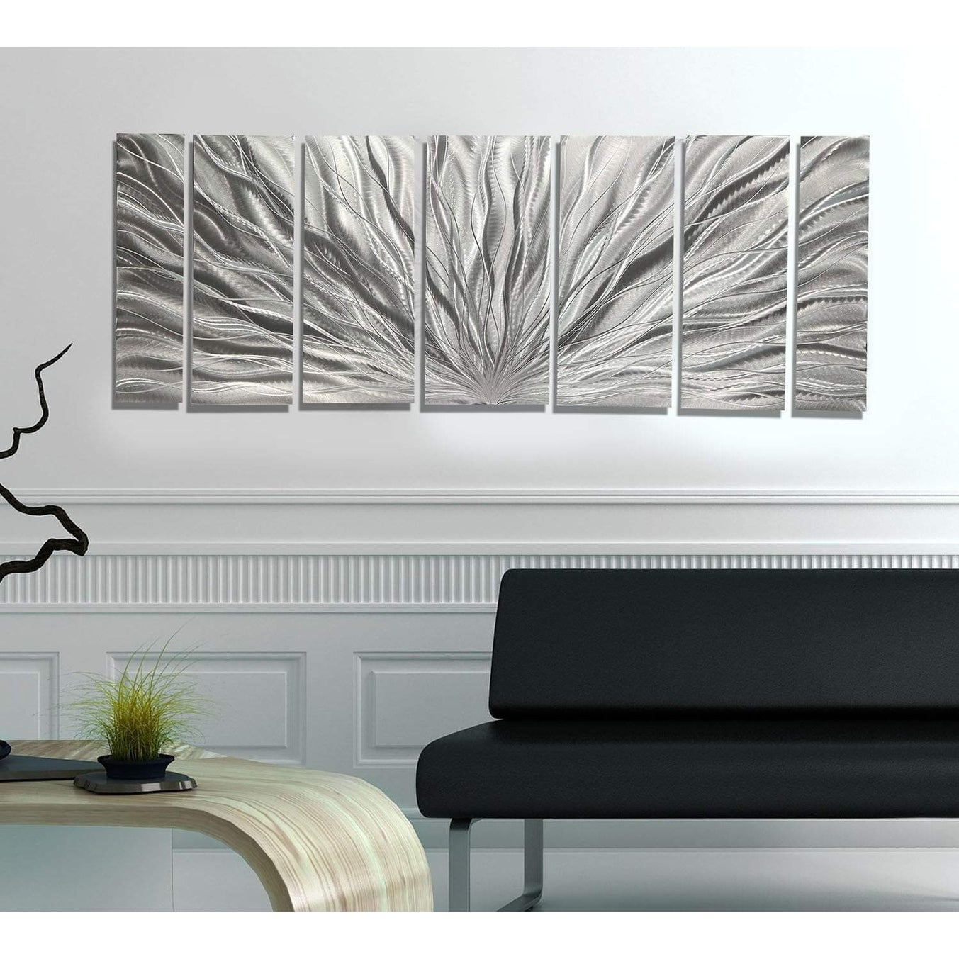 Statements2000 modern metal wall art panels abstract silver decor by jon allen silver plumage