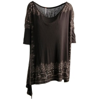 Free People Womens Draped Hi-Low Pullover Top