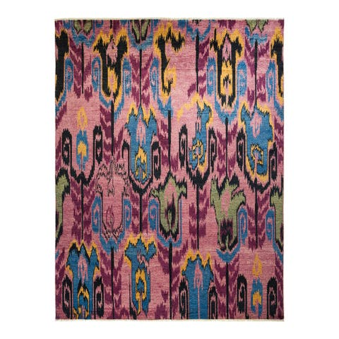 """Modern, One-of-a-Kind Hand-Knotted Area Rug - Purple, 8' 0"""" x 10' 4"""" - 8' 0"""" x 10' 4"""""""